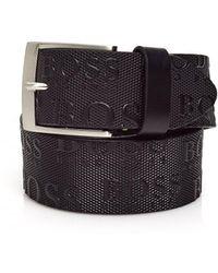 BOSS - Torialo Belt, All Over Emed Logo Black Belt - Lyst