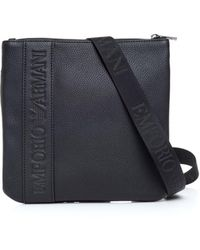 22828ba891 Armani Jeans Black Tonal Repeat Logo Stash Shoulder Bag in Black for ...