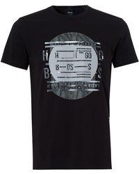 BOSS - Tee 4 T-shirt, Record Deck Print Black Tee - Lyst