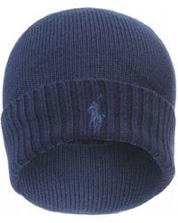 Ralph Lauren Ribbed Logo Beanie, Navy Blue Wool Hat