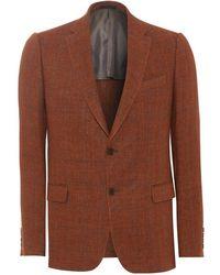 Armani - Blazer Burnt Orange Check Linen Jacket - Lyst