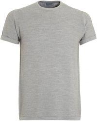John Smedley - 2singular T-shirt, Bardot Grey Honeycomb Tee - Lyst