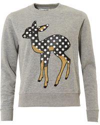 Essentiel Antwerp - Offie2 Sweatshirt, Dotted Dear Vapor Grey Jumper - Lyst