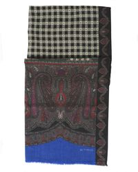 Etro - Paisley And Checked Print Black Scarf - Lyst