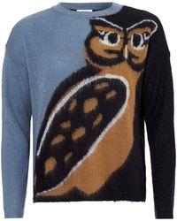 I Blues - Queen Knit, Owl Print Light Blue Jumper - Lyst