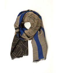 Armani - Shawl, Tartan Heart Grey Blue Scarf - Lyst