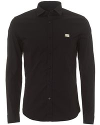 Love Moschino - Metal Chest Badge Slim Fit Black Shirt - Lyst