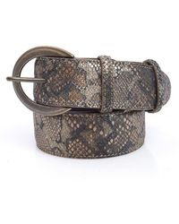 Elliot Rhodes - Brown Metallic Reptile Effect Leather Belt - Lyst