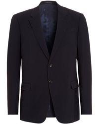 Armani - Blazer, Navy Blue Diagonal Weave Jacket - Lyst