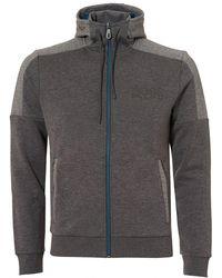 BOSS - Saggy Hoodie, Contrast Zip Grey Jacket - Lyst