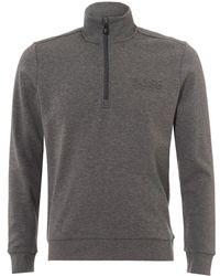 BOSS Athleisure - Sweat Track Top, Quarter Zip Mid Grey Melange Sweatshirt - Lyst