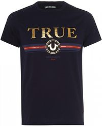 True Religion Gold Letter T-shirt, Slim Fit Navy Blue Tee