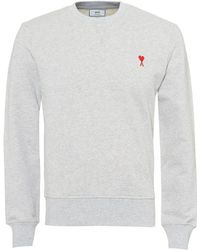 AMI - Basic Sweatshirt, Embroidered Heart Logo Light Grey Jumper - Lyst