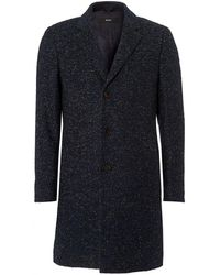 BOSS - Nye Boucle Herringbone Blue Crombie Coat - Lyst