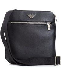 Emporio Armani - Silver Eagle Logo Black Crossbody Stash Bag - Lyst 0fa1bf9098