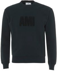 AMI - Large Logo Sweatshirt, Dark Green Crew Neck Sweat - Lyst
