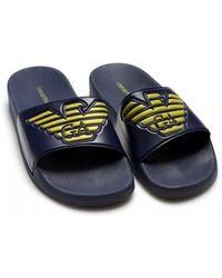 Emporio Armani - Eagle Logo Sliders, Navy Blue Flip Flops - Lyst