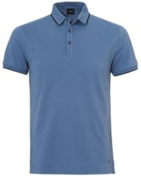 BOSS by Hugo Boss - Payout Polo, Sky Blue Stitched Polo Shirt - Lyst
