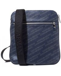 Emporio Armani - Mens All Over Logo Small Item Bag Navy Blue - Lyst