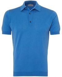 John Smedley - Adrian Polo Shirt, Sea Island Cotton Chambray Blue Polo - Lyst