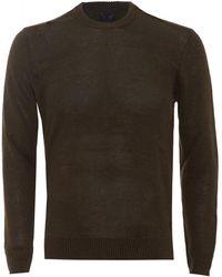 Armani - Jumper Crew Neck Cotton Blend Olive Green Sweater - Lyst