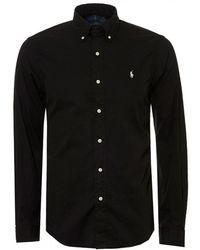 Ralph Lauren - Twill Garment Dyed Black Slim Fit Shirt - Lyst