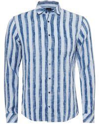 BOSS - Epop Linen Shirt, Broad Vertical Stripe Navy Blue Sky Shirt - Lyst