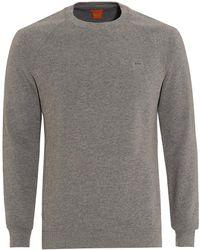 BOSS by Hugo Boss - Wheel Sweat, Plain Patch Logo Grey Sweatshirt - Lyst