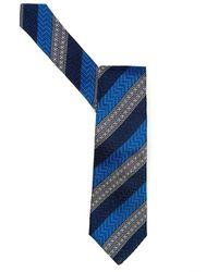 Duchamp | Tie Blue Morse Diagonal Striped Tie | Lyst
