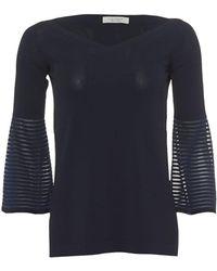 D. EXTERIOR - Womans 3/4 Sleeve Navy Jumper, Striped Bell Sleeve Sweater - Lyst