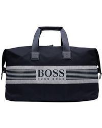 BOSS Athleisure - Pixel Jholdall Navy Blue Logo Gym Bag - Lyst