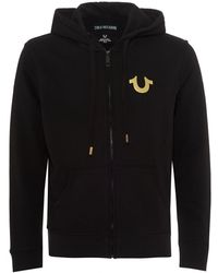 True Religion - Gold Foil Buddha Hoodie, Zip Up Black Sweatshirt - Lyst