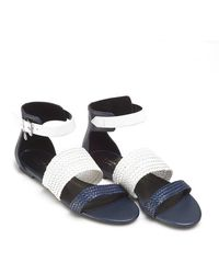 Armani - Sandals, Woven Strap Navy Blue White Shoes - Lyst
