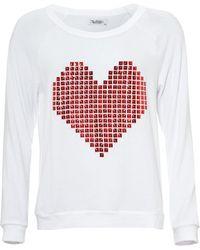 Lauren Moshi - Brenna White Sweatshirt, Red Stud Heart Print Top - Lyst