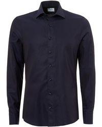 Stenstroms - Pin Dot Slimline Long Sleeve Navy Shirt - Lyst