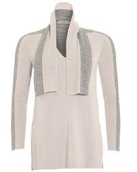 D. EXTERIOR - Jumper, Tie Neck Contrast Beige Grey Sweater - Lyst