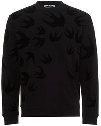 McQ - Velvet Flock Swallows Sweatshirt, Black Crew Sweat - Lyst