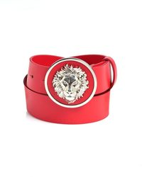 Versus - Silver Lion Head Red Leather Belt - Lyst