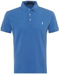 Ralph Lauren - Mesh Polo Shirt, Embroidered Logo Blue Polo - Lyst