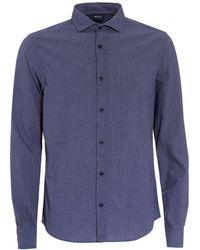 Armani Jeans - Blue Small Polka Dot Regular Fit Shirt - Lyst
