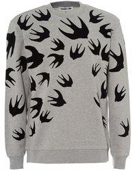 McQ - All Over Swallows Mercury Melange Grey Sweatshirt - Lyst