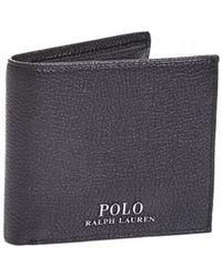 Ralph Lauren - Coin Pocket Black Leather Billfold Wallet - Lyst