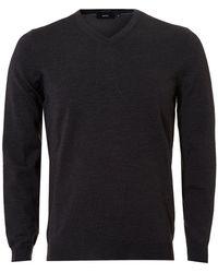 BOSS Black - Baram-l Sweater, V-neck Dark Grey Melange Sweater - Lyst