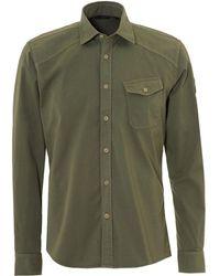 Belstaff - Steadway Shirt, Tilted Chest Pocket Slate Green Shirt - Lyst