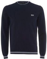 BOSS - Rimex_w18 Cotton Jumper, Navy Blue Sweater - Lyst