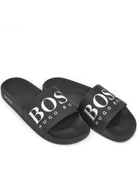 BOSS Athleisure - Solar Slide Sandals, Black Sliders - Lyst