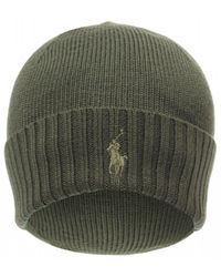 Ralph Lauren Ribbed Logo Beanie, Olive Green Wool Hat