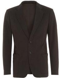 Armani - Single Breast Grey Blazer Jacket - Lyst