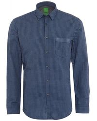 BOSS Green | Shirt C-bicronio Checked Dark Blue Shirt | Lyst