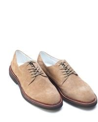 Armani - Shoes, Beige Suede Leather Lace Up Derby - Lyst
